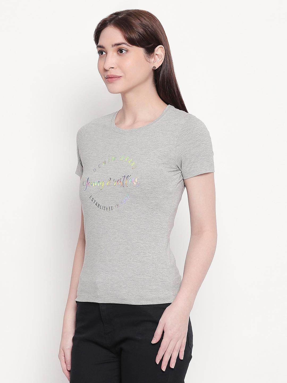 Grey Printed Regular Fit T-shirt