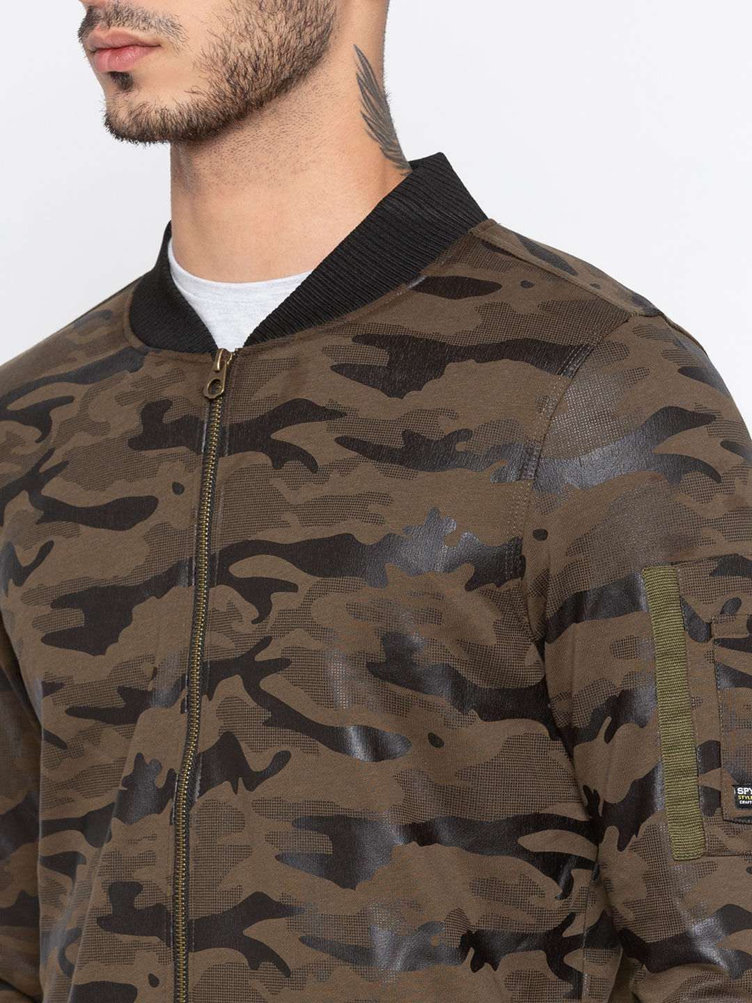 Green Printed Slim Fit Bomber Jackets