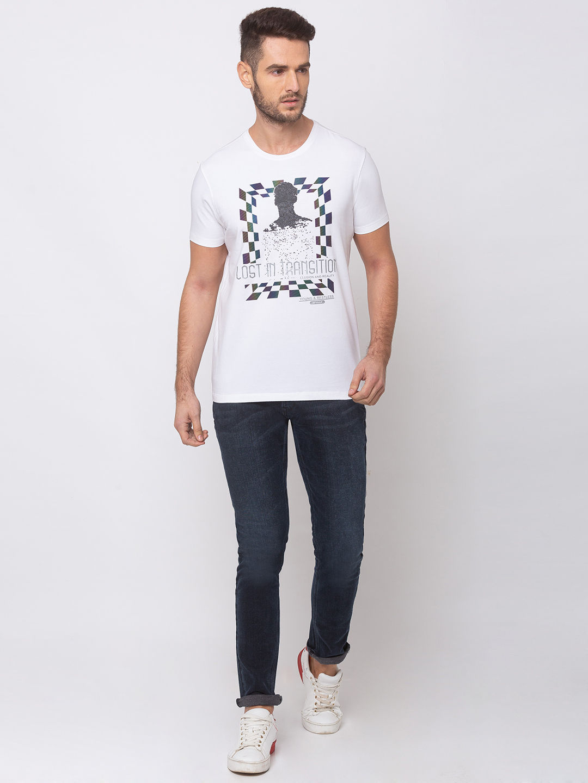 spykar White Printed Cotton T-Shirts