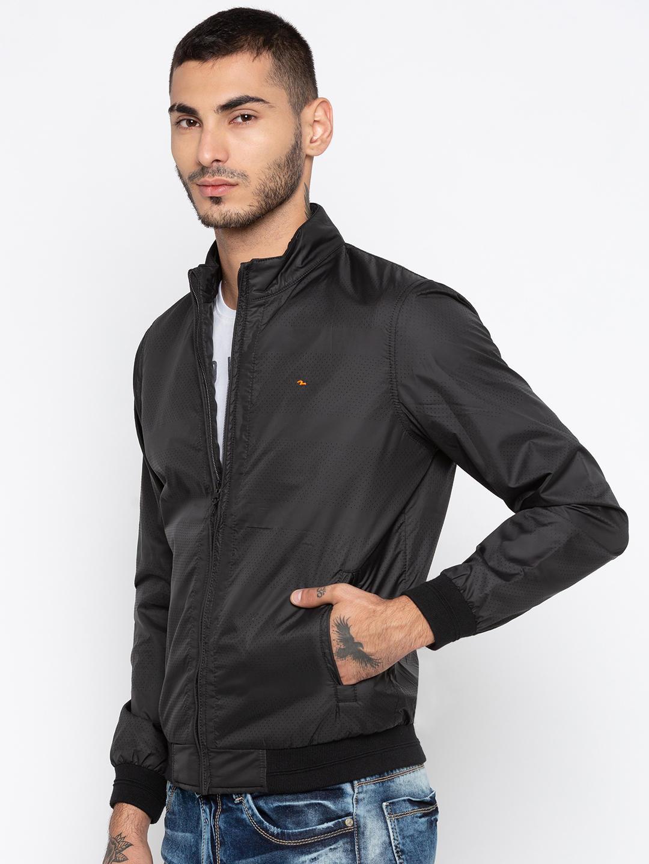 Black Solid Regular Fit Bomber Jackets