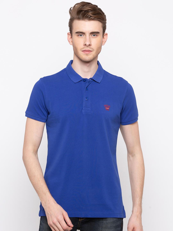 Royal Blue Solid Slim Fit T-Shirts