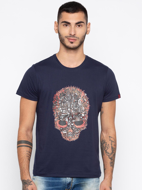 Navy Printed Slim Fit T-Shirts