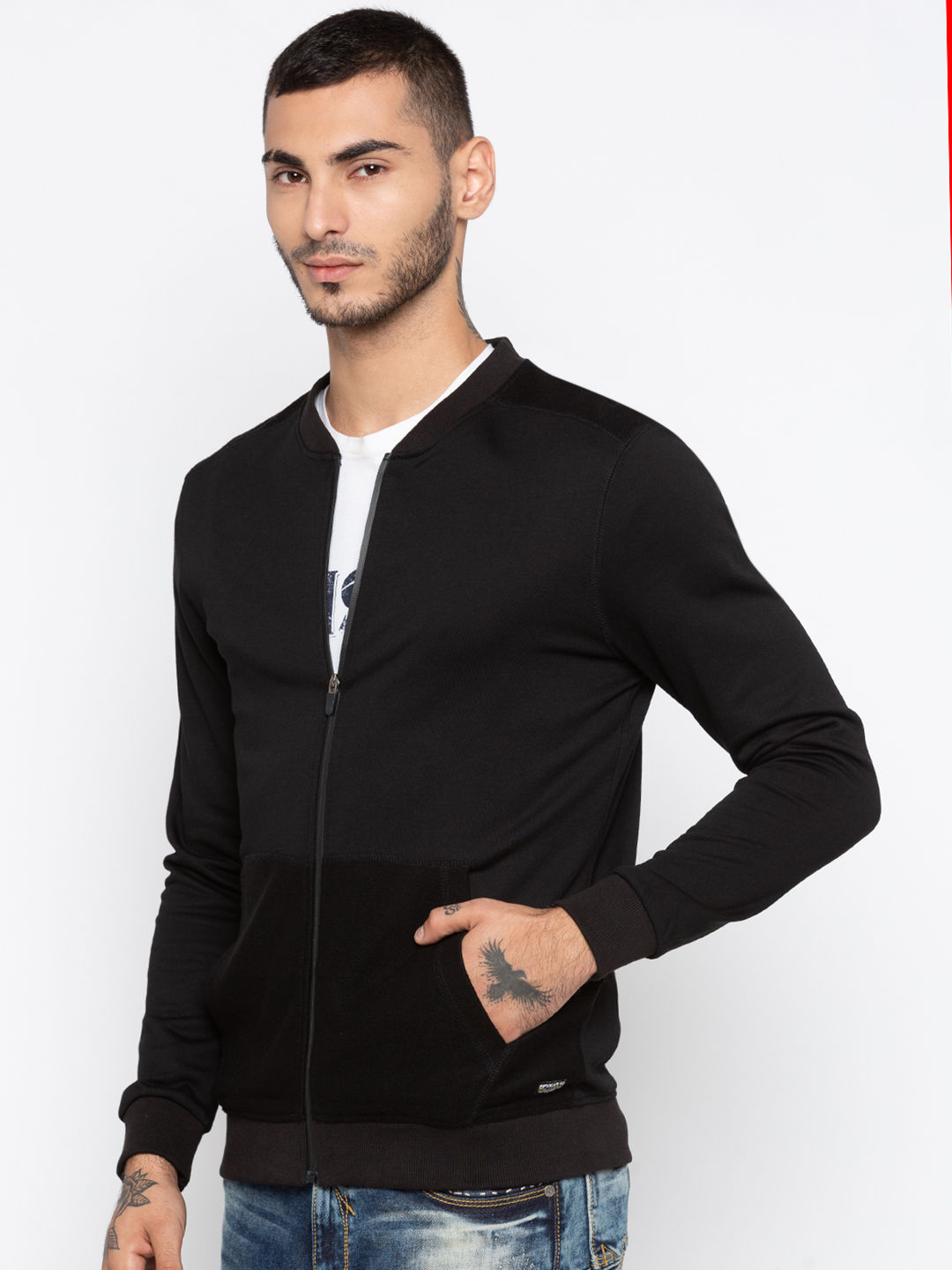 Black Solid Slim Fit Front Open Jackets