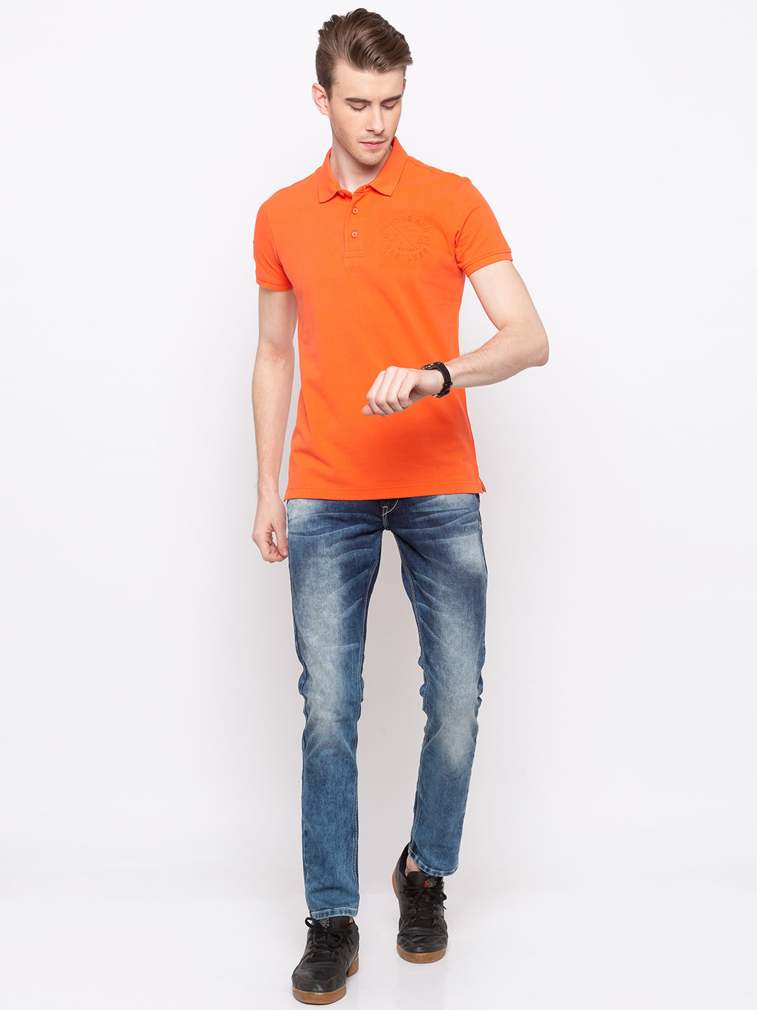 Coral Solid Slim Fit Polo T-Shirt