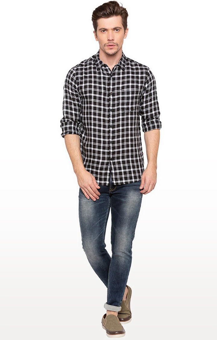 Black Checked Slim Fit Casual Shirt