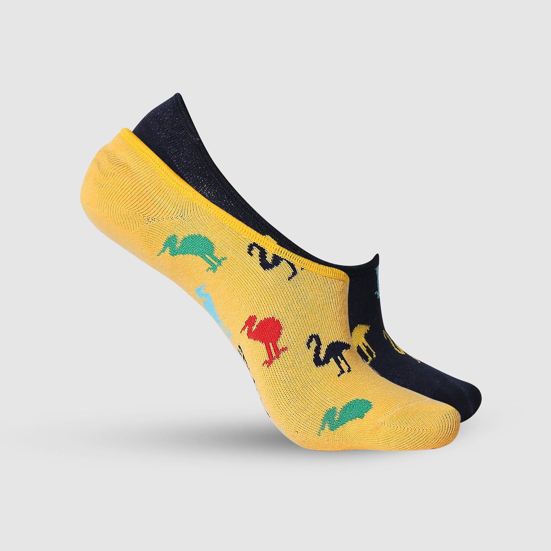 SPYKAR Black & Mustard Cotton Ped Socks (Pack of 2)