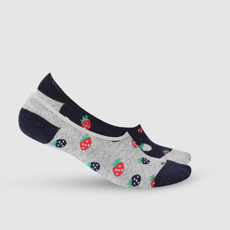 SPYKAR Grey Melange & Navy Cotton Ped Socks (Pack of 2)
