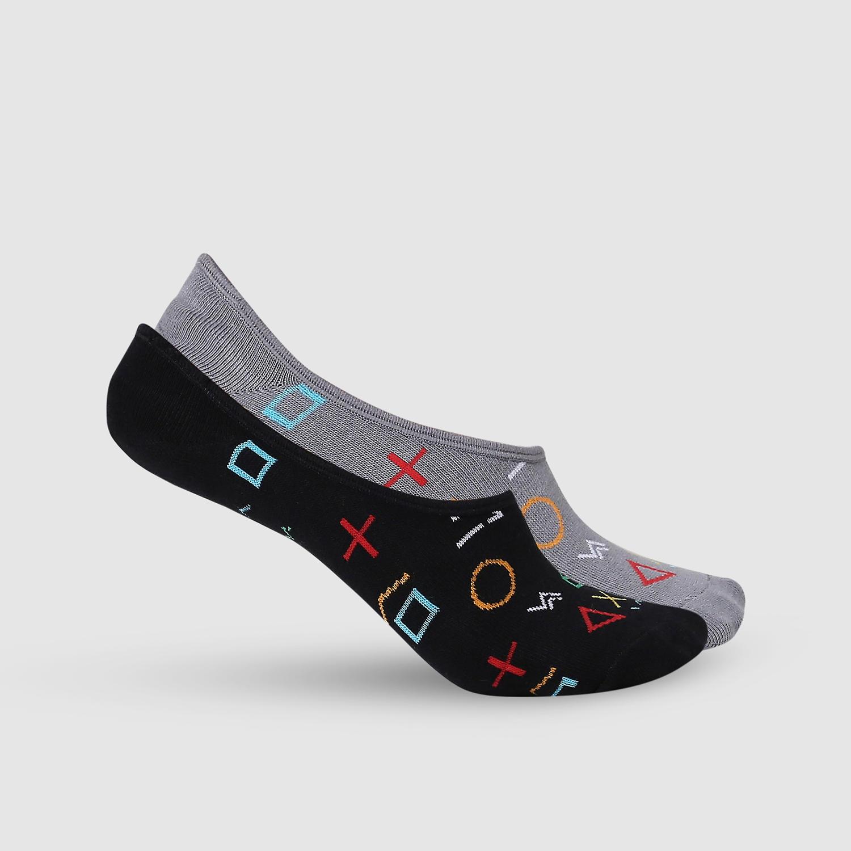SPYKAR D.Grey Melange & Black Cotton Ped Socks (Pack of 2)