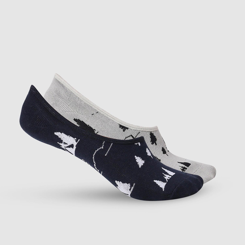 SPYKAR Grey Melange & Black Cotton Ped Socks (Pack of 2)