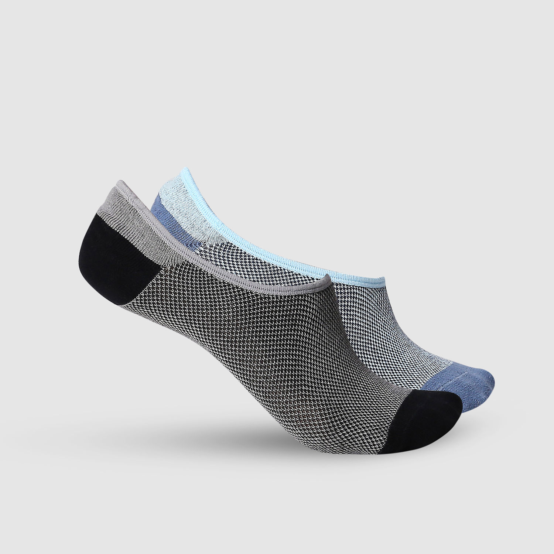 SPYKAR BLACK BLUE Cotton Ped Socks (Pack of 2)
