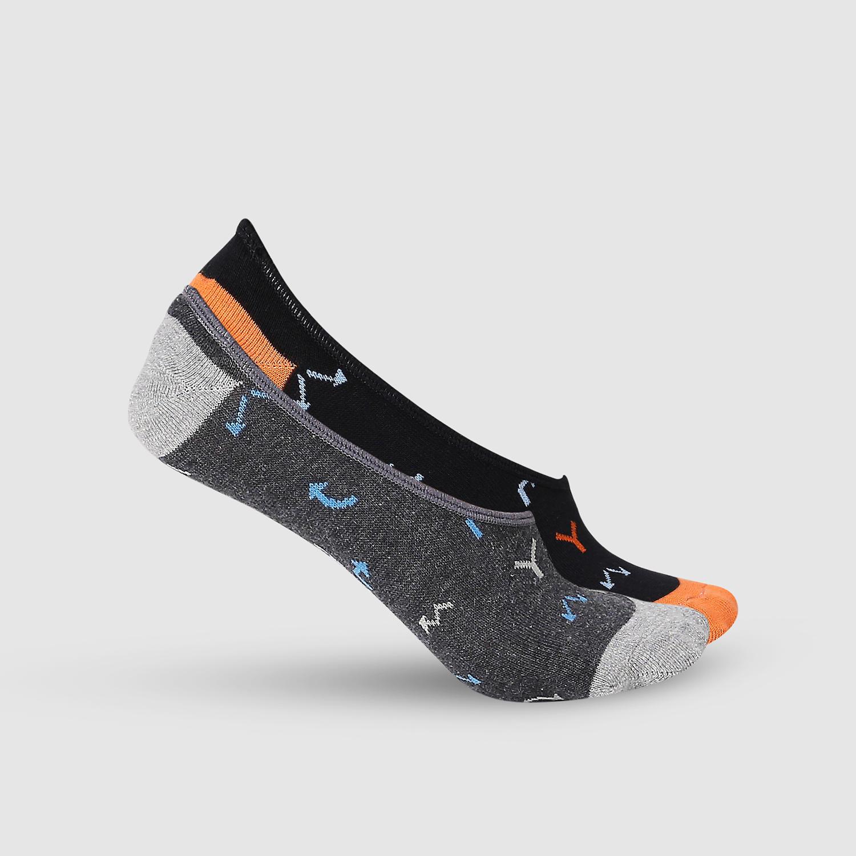 SPYKAR Black & Anthra Melange Cotton Ped Socks (Pack of 2)