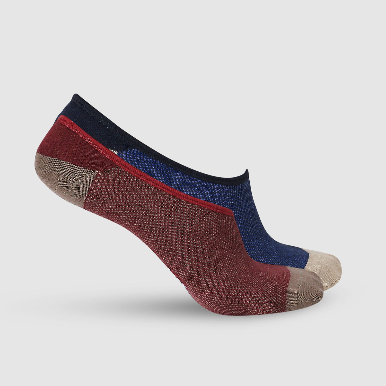 SPYKAR Maroon_Navy Cotton Ped Socks (Pack of 2)
