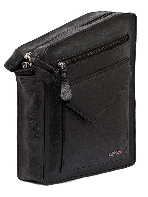 Spykar Black Genuine Leather Messenger Bag