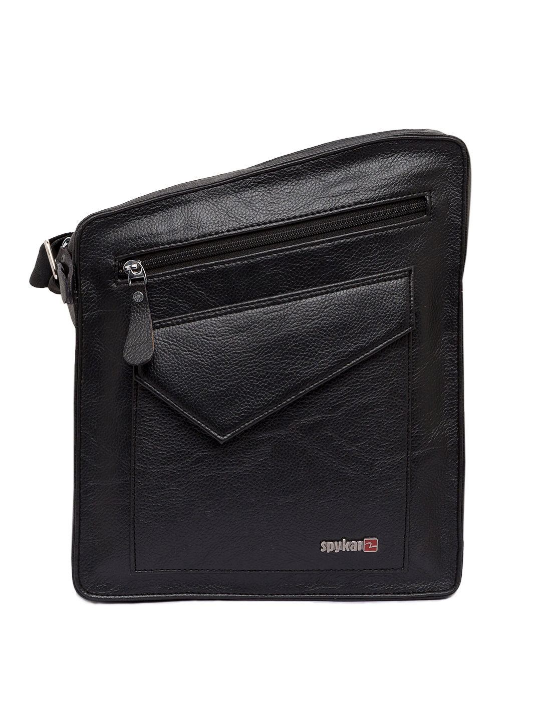Spykar Black Genuine Leather Messenger Bag