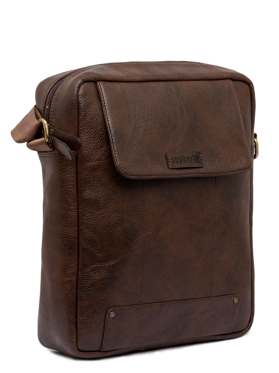 Spykar Brown Genuine Leather Messenger Bag