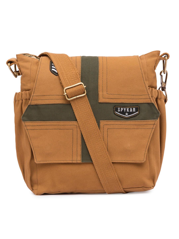 Spykar Khaki Canvas Messenger Bag