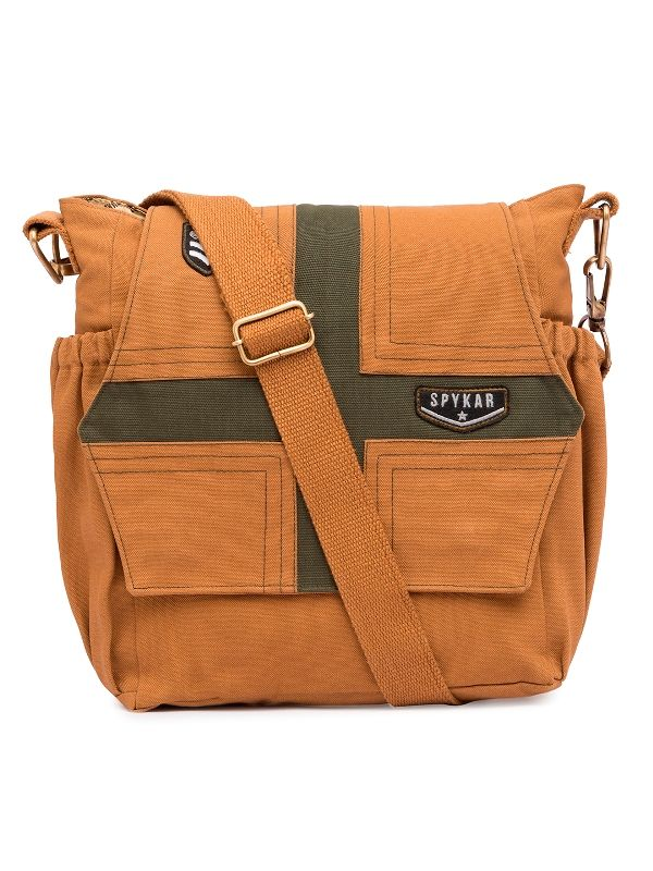 Spykar Khaki Canvas Messenger Bag