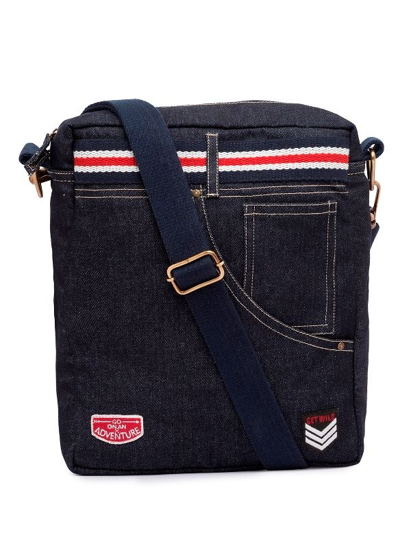 Spykar Blue Canvas Messenger Bag