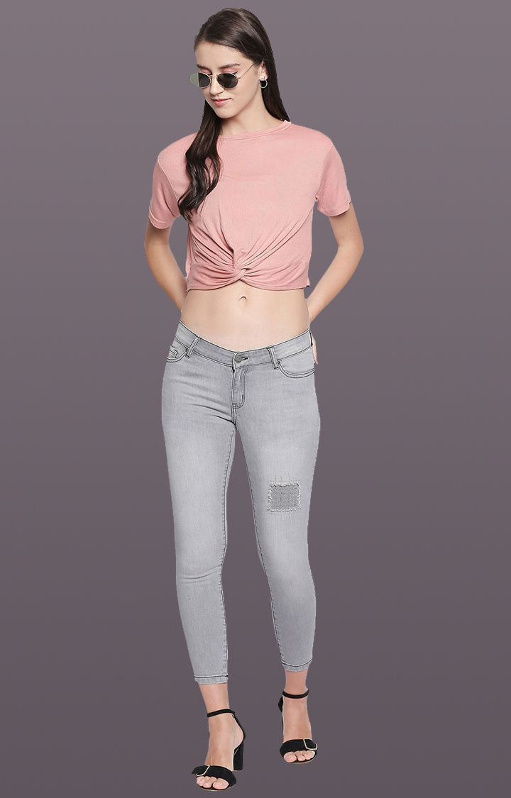 Spykar Grey Ripped Super Skinny Fit Cropped Jeans