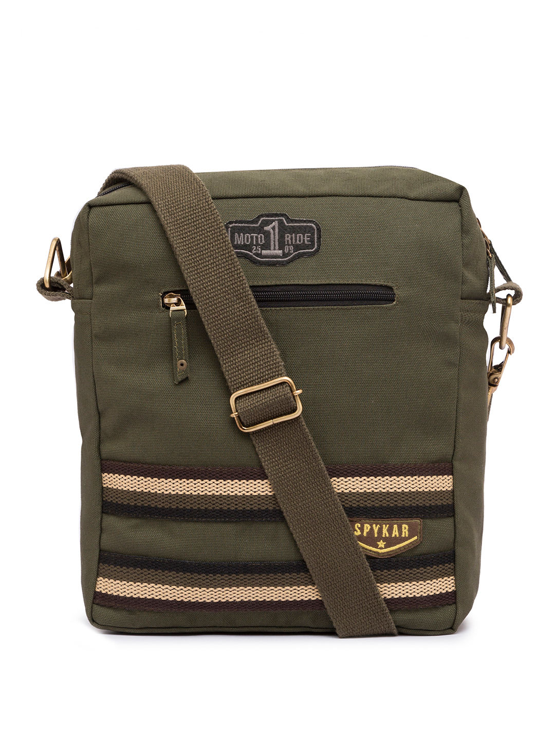 Spykar Olive Canvas Messenger Bag