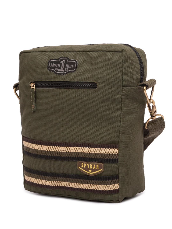 Spykar Olive Canvas Messenger Bag