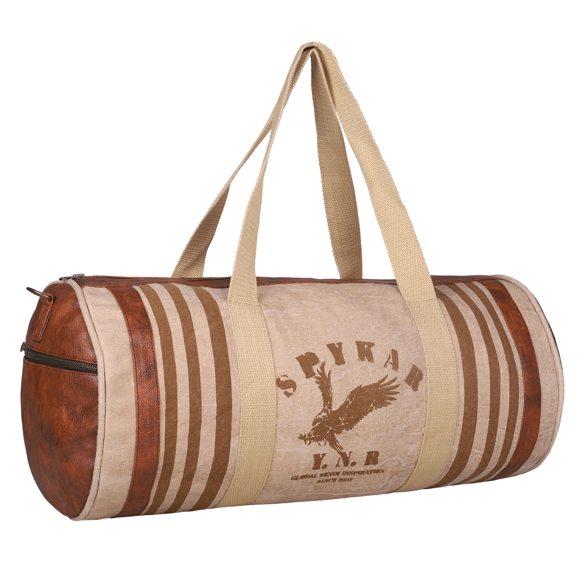 Spykar Beige Canvas Duffle Bag