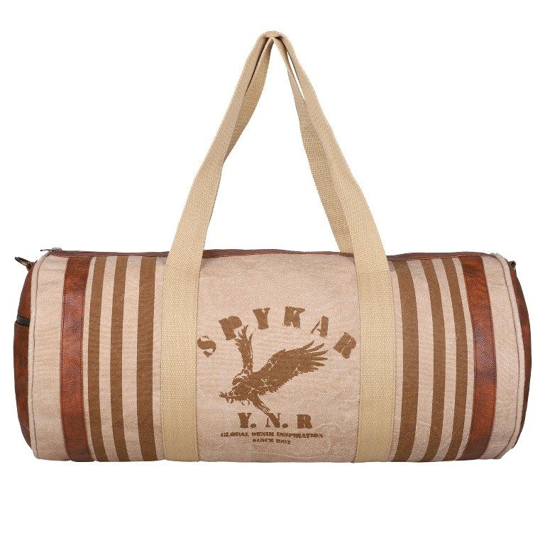 Spykar Beige Canvas Duffle Bag