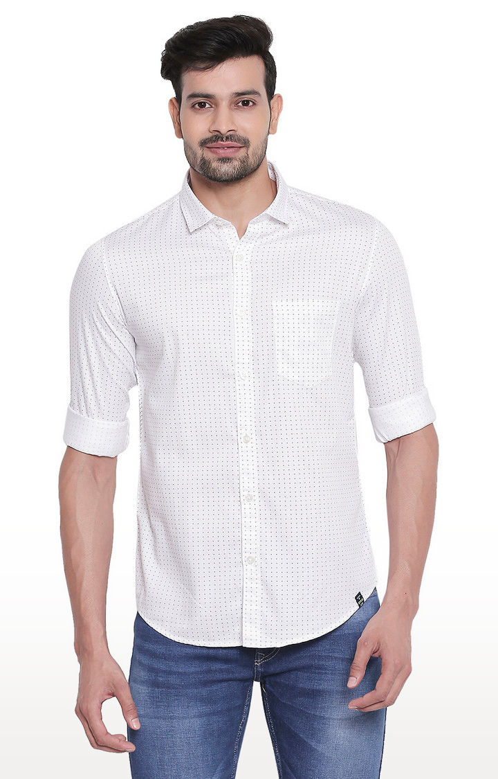 White Micro Ditsy Print Regular Slim Fit Shirt