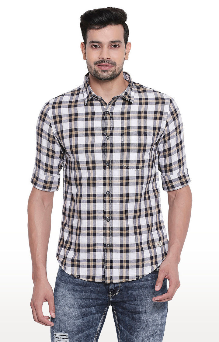 White & Khaki Checked Regular Slim Fit Shirt