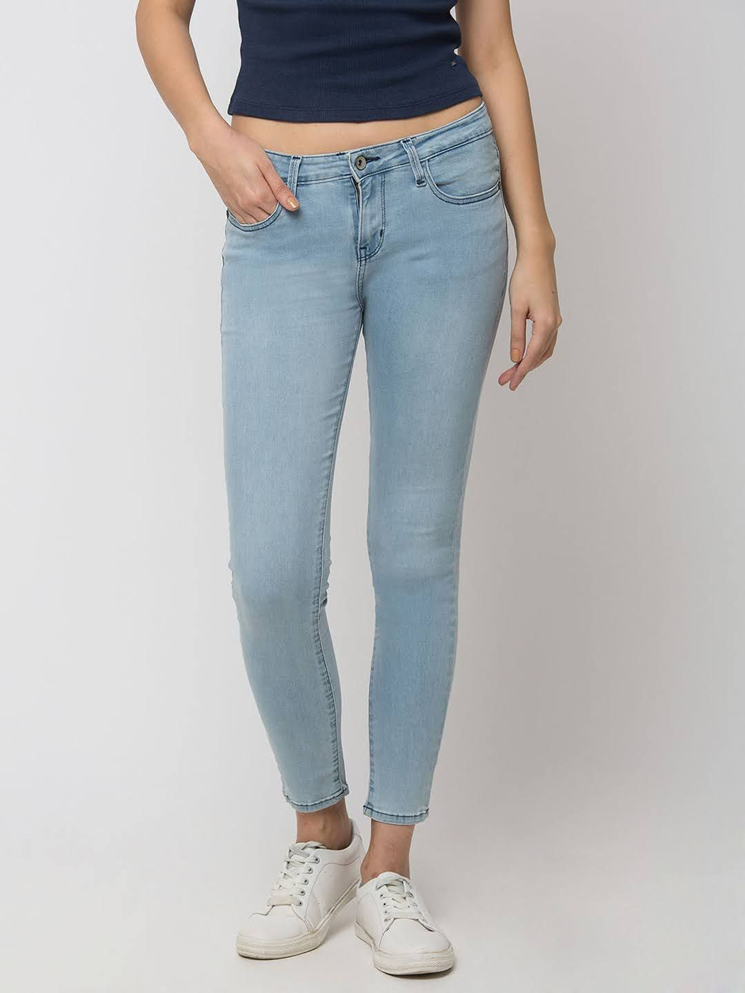 SPYKAR Light Blue Cotton SUPER SKINNY FIT JEANS