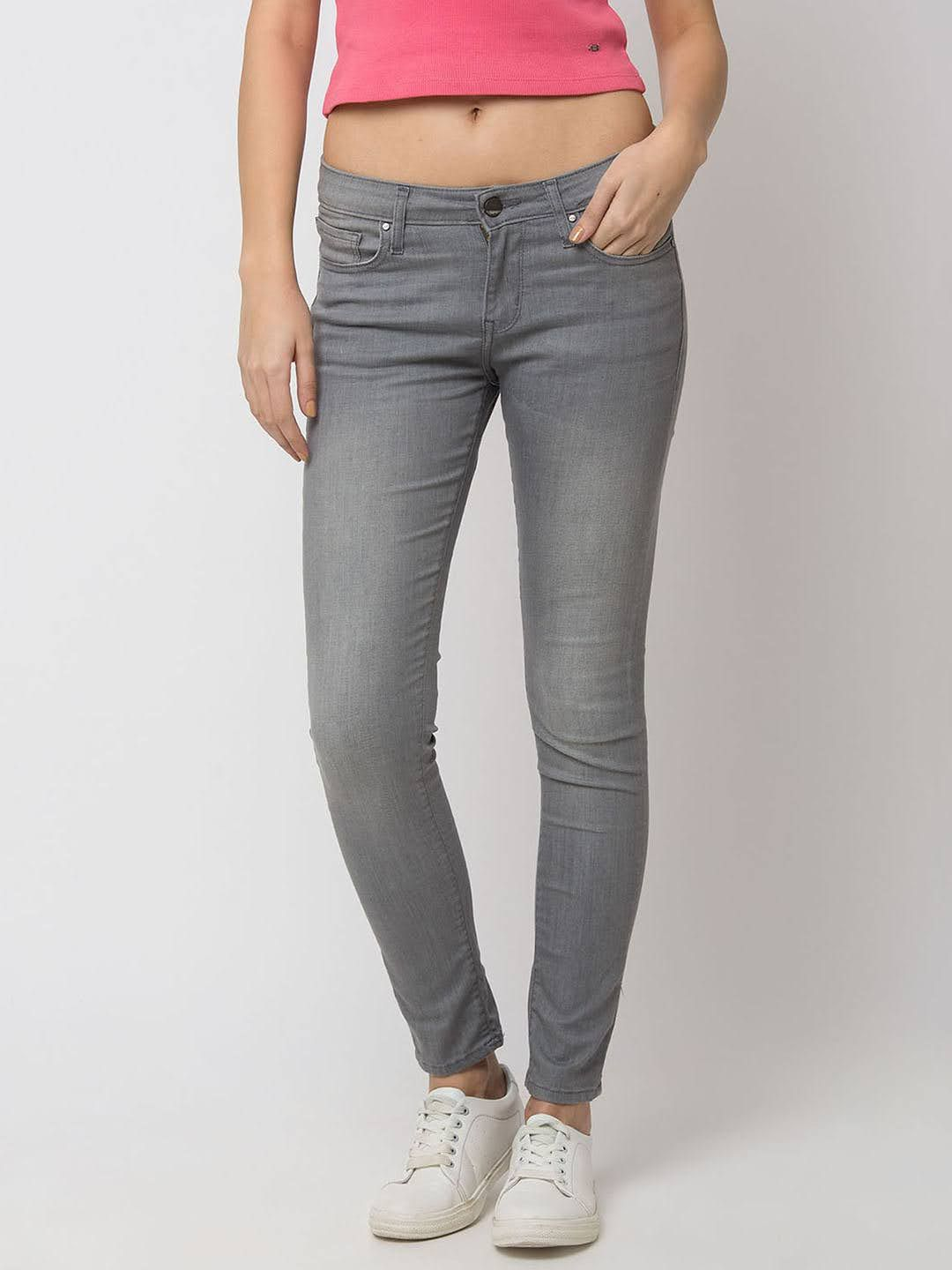 Spykar Grey Cotton Jeans