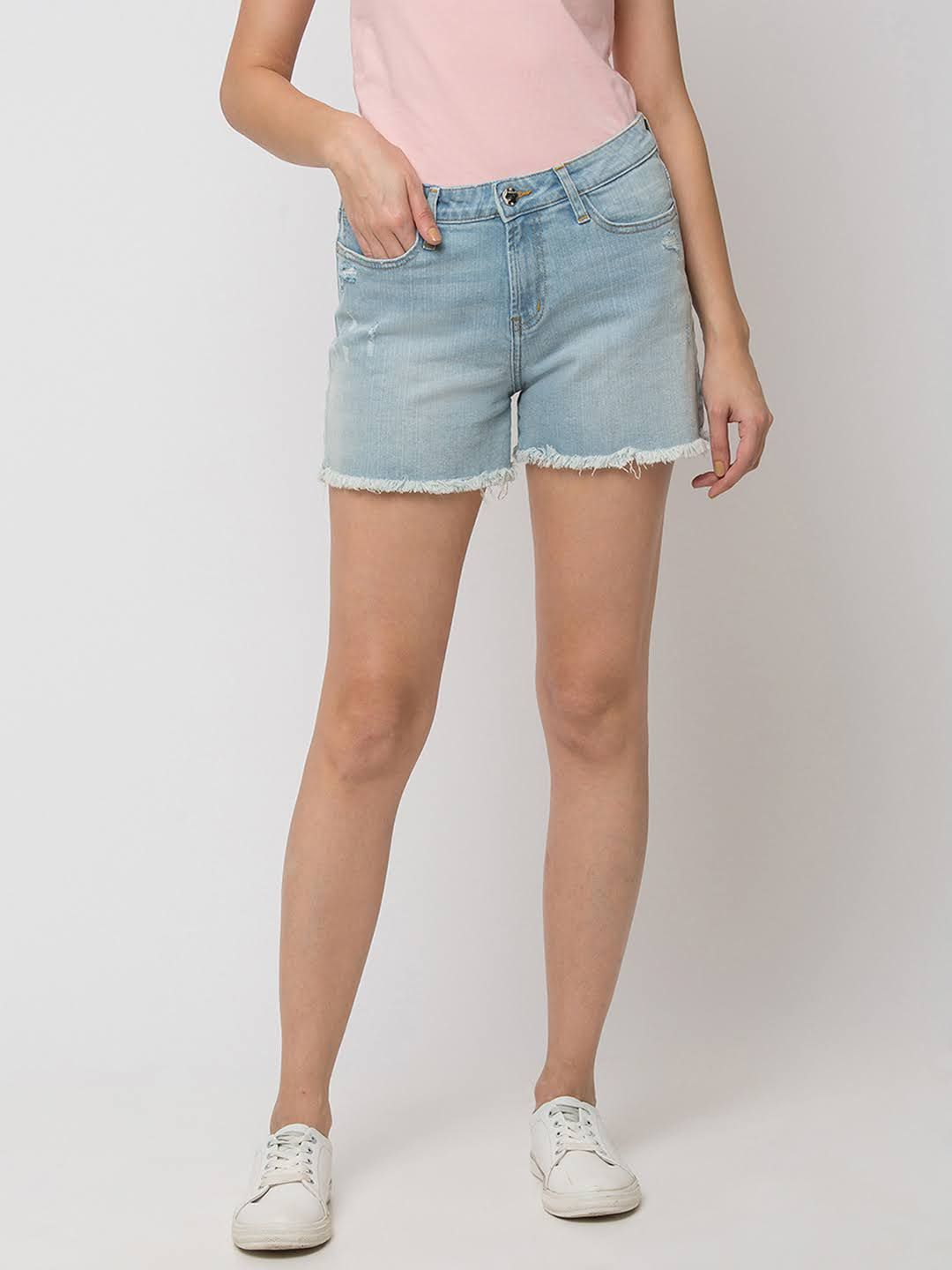 SPYKAR ICE BLUE Cotton SHORTS JEANS