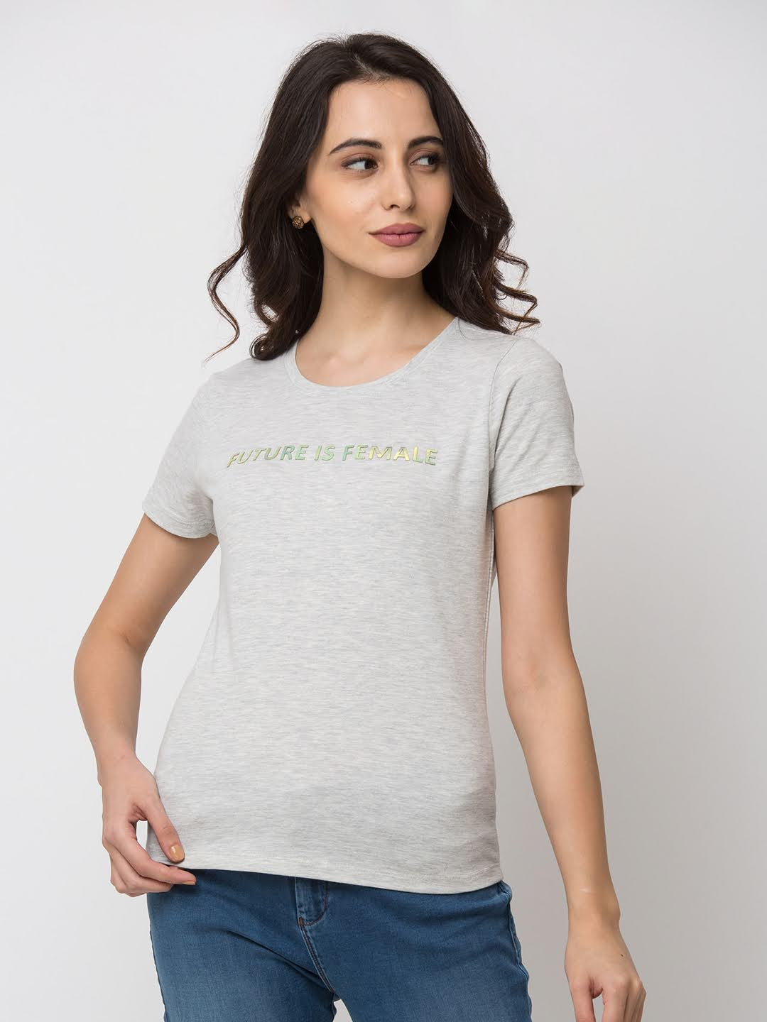 Spykar Cotton Grey T-Shirts