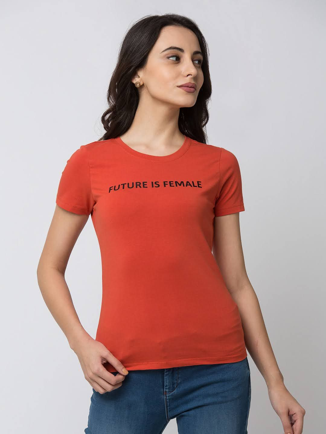 Spykar Cotton orange T-Shirts