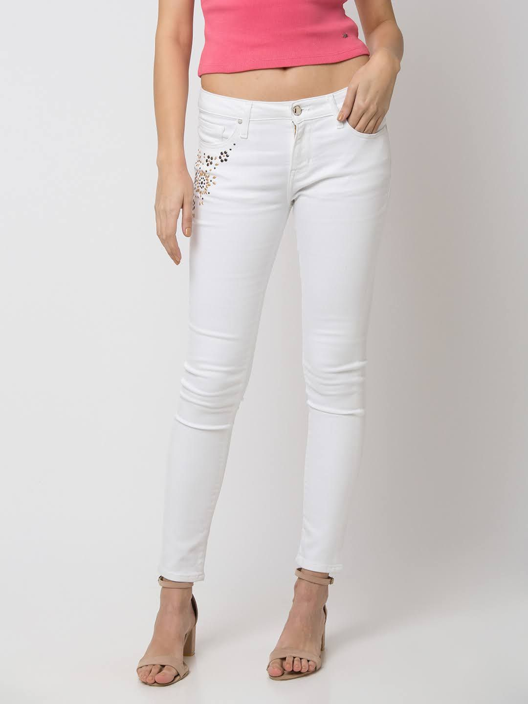 SPYKAR White Cotton SKINNY FIT JEANS