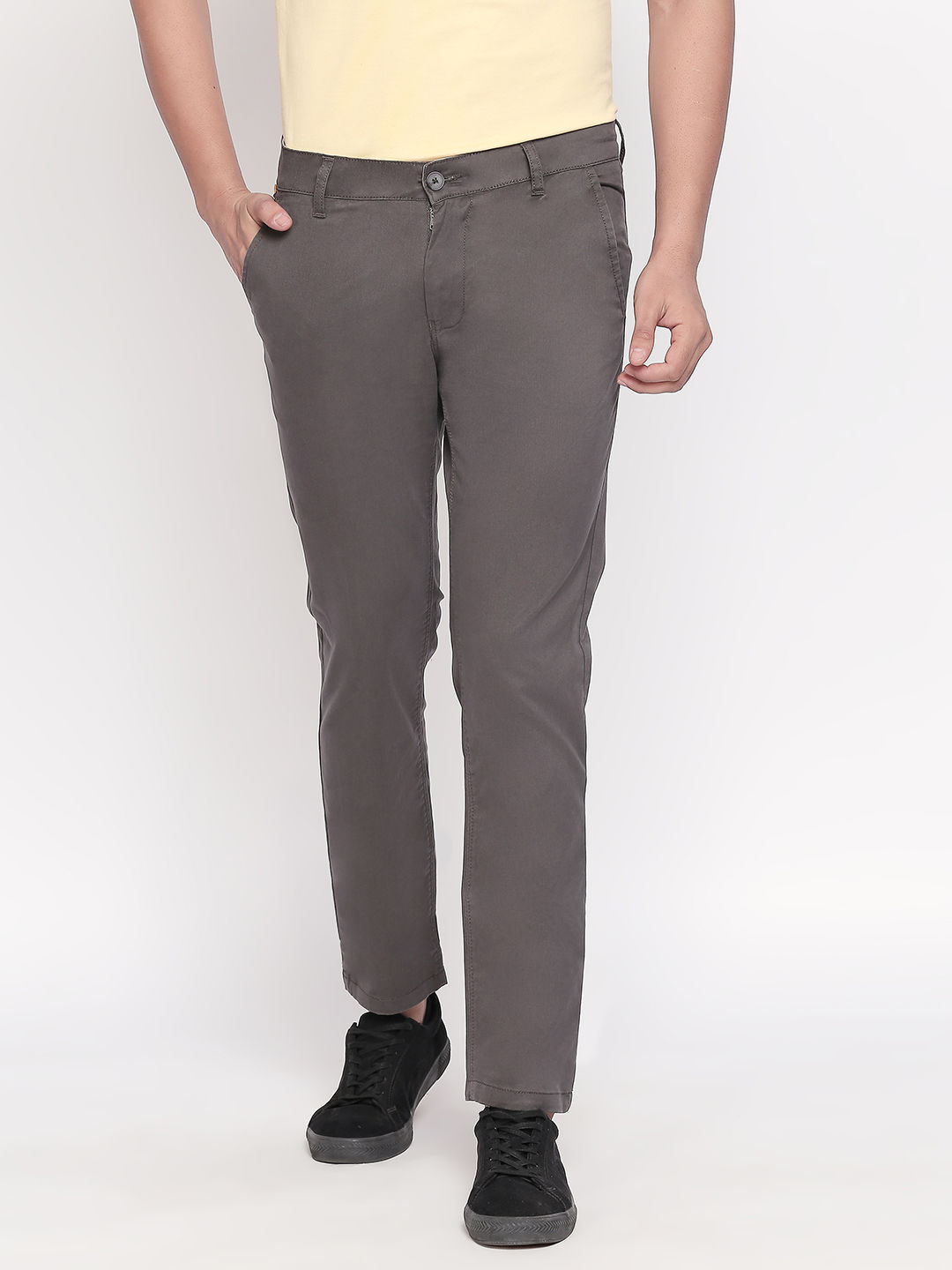Charcoal Solid Slim Fit Chinos