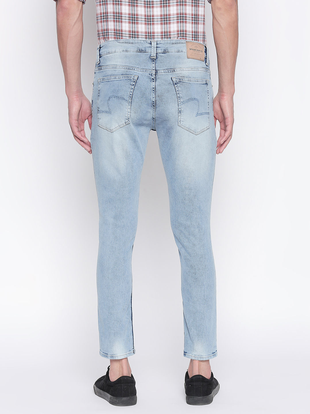 Light Blue Solid Low Rise Jeans