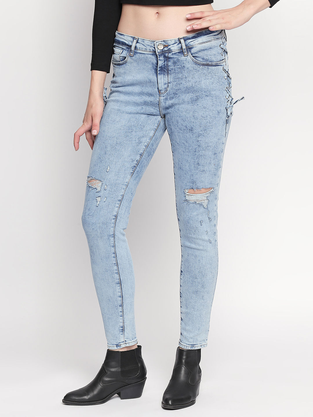 Mid Blue Ripped Slim Fit Jeans