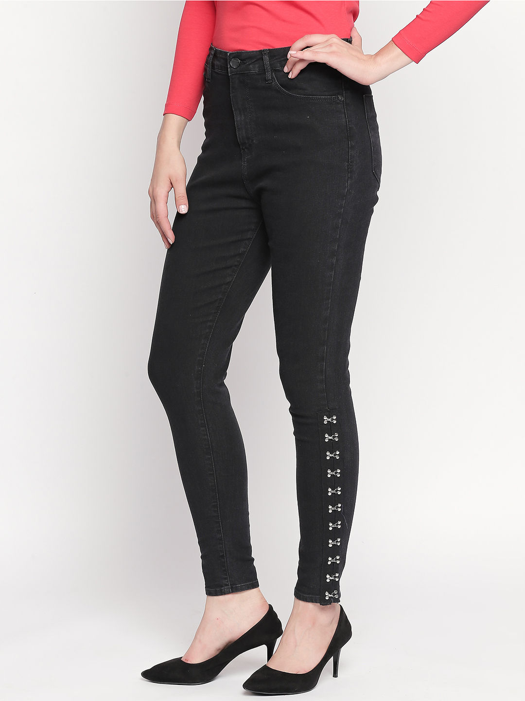 Black Solid High Rise Jeans