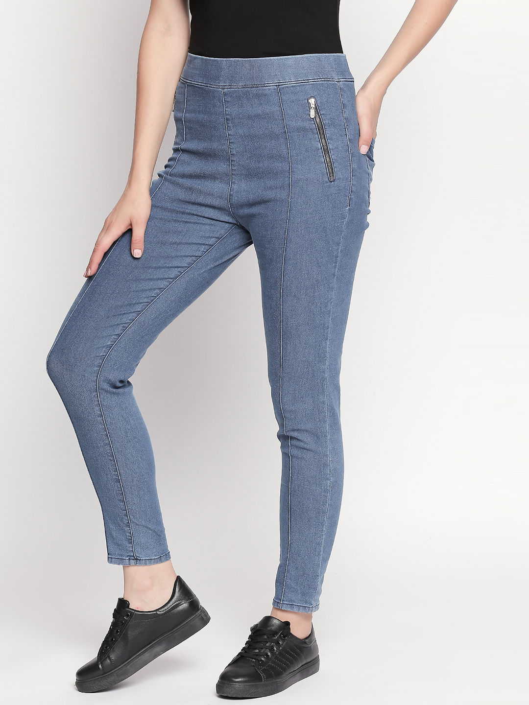 Mid Blue Skinny Fit Jeggings