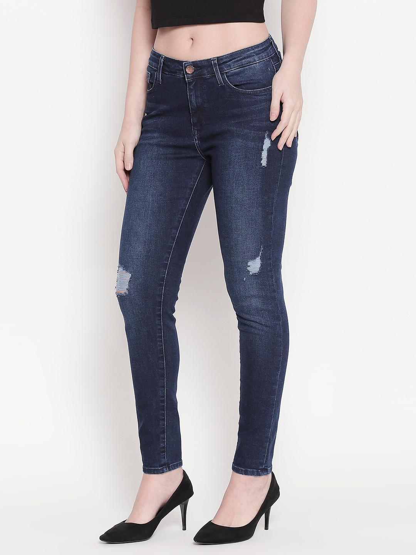 Distressed Dark Blue Skinny Fit Jeans