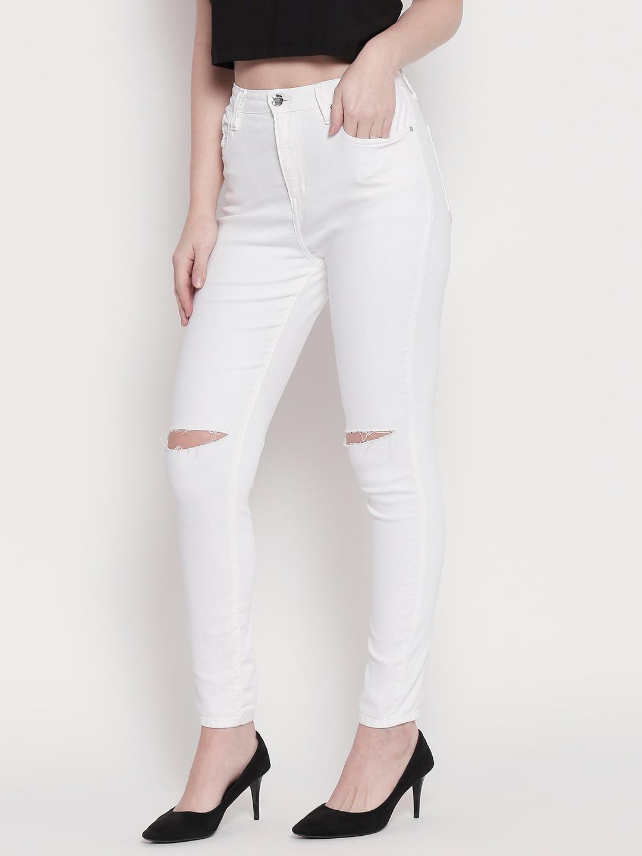 White Slash Knee Super Skinny Fit Jeans