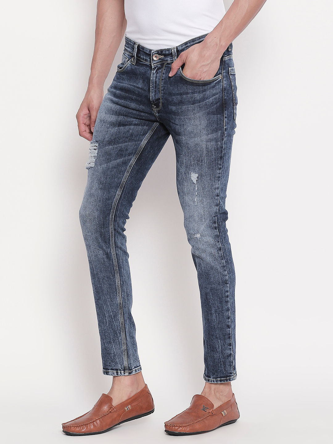 Low-rise Waist Mid Blue Skinny Fit Jeans