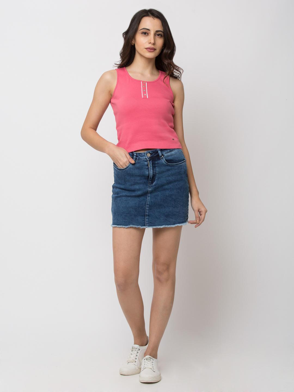 SPYKAR DK BLUE Cotton Skirts Skirts