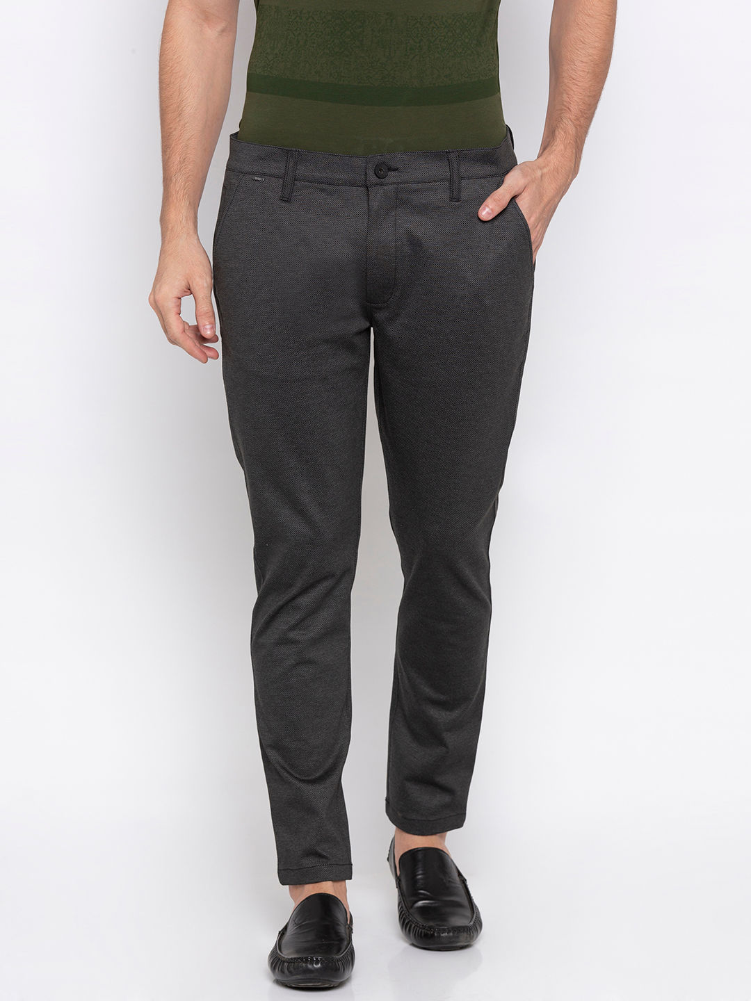 Spykar Charcoal Polyester Slim Fit Trousers