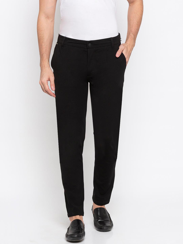 Spykar Black Polyester Slim Fit Trousers
