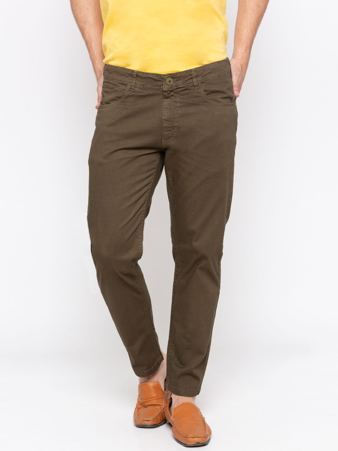 Olive Solid Slim Fit Chinos