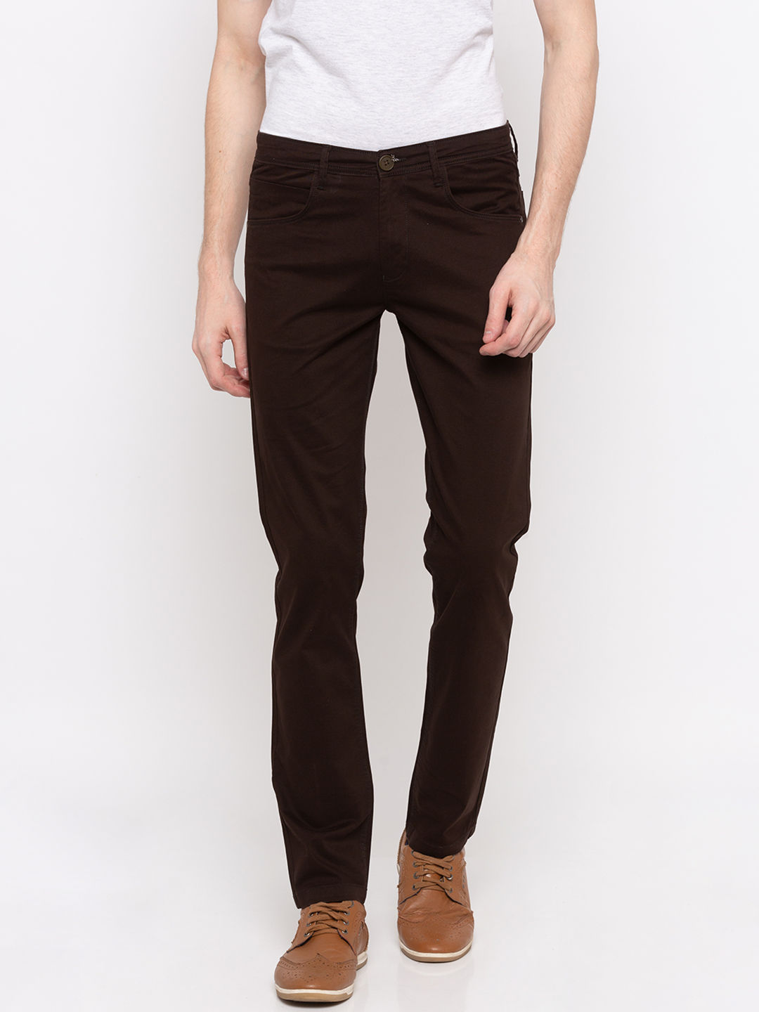 Chocolate Solid Slim Fit Chinos