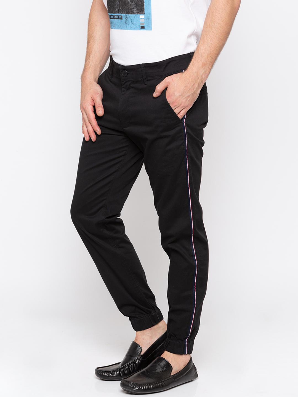 Black Solid jogger Fit Joggers