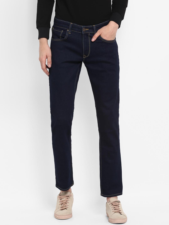 Blue Solid Slim Thigh Narrow Leg Fit Jeans
